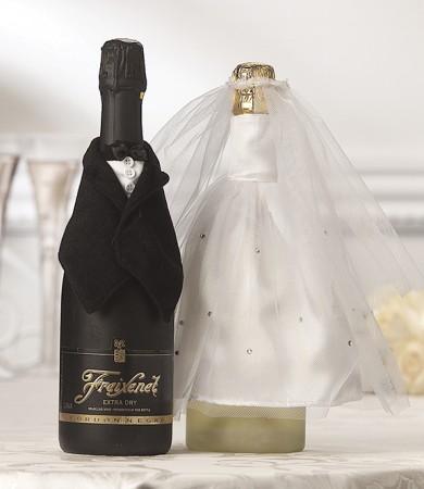 "Vestito ""Sposa & Sposo"" per bottiglie"
