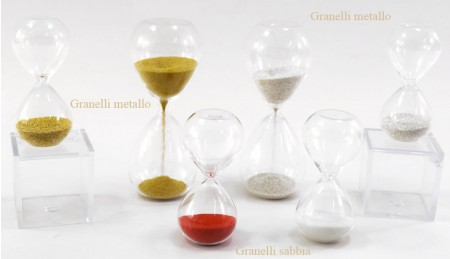 Clessidre sabbia bianca, rossa, oro o argento