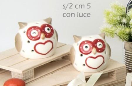 Gufo in ceramica con led