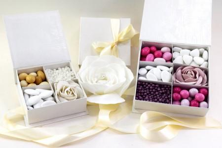 Box Porta confetti bianco con divisorio