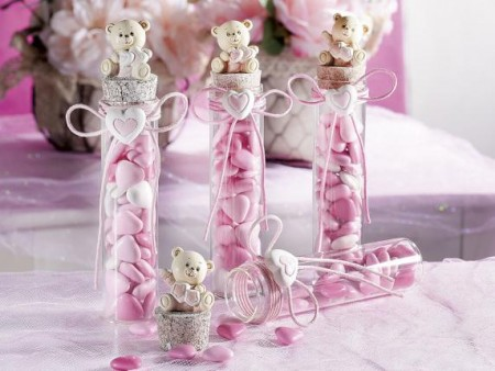 Provetta con orsetto e fiocco rosa