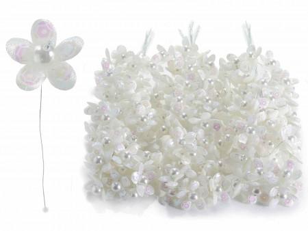 Fiorellino per bomboniera con perline e paillettes