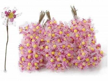 Fiorellino per bomboniera rosa con veletta