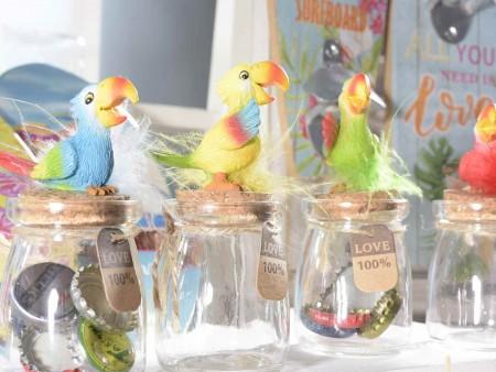 Barattolo in vetro con pappagallo