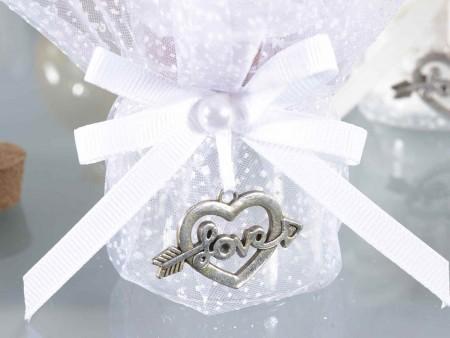 Barattolino vetro con tulle, fiocco e pendente a cuore Love