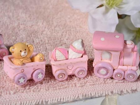 Trenino con orsetto in resina colorata - Rosa