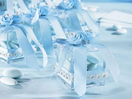 Scatoline porta confetti con fiori, strass e fiocco - Azzurro