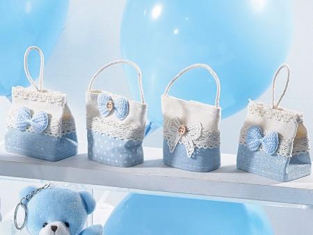 Borsette azzurre porta confetti con fiocco