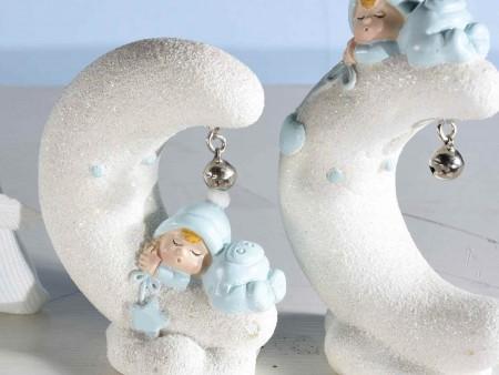 Decorazioni per Battesimo in resina azzurra con glitter e campanella