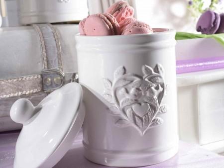 Contenitore in ceramica bianca c/decori in rilievo
