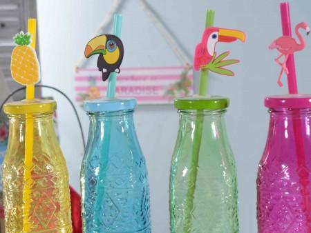 Bottiglia Tropical in vetro colorato con rilievi e cannuccia