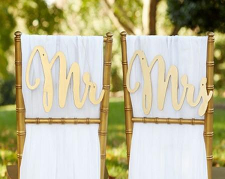 """Decorazione """"Promesse d'oro"""" per sedie sposi """"Mr.&Mrs."""""""