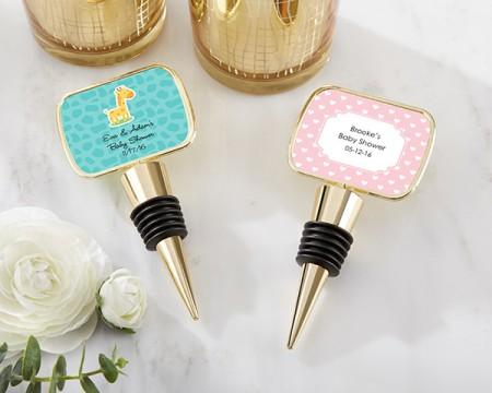 Tappo per bottiglie in oro personalizzato con cupoletta in resina - Baby Shower