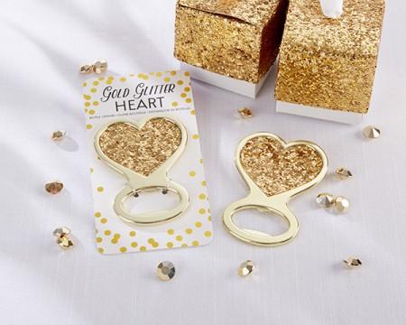"""Apribottiglie """"Cuore di glitter"""" in oro"""