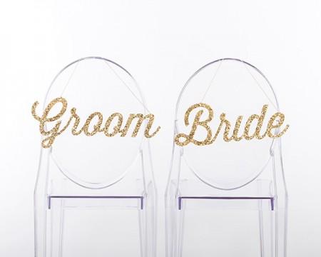 """Segnaposto per sedie """"Bride and Groom"""" in oro glitterato"""