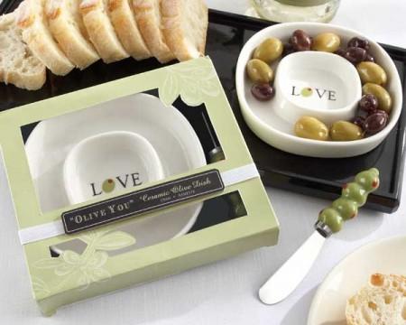 """Piattino portaolive """"Olive you"""" con coltellino per spalmare"""