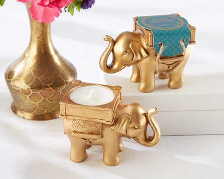 Elefante portacandele dorato