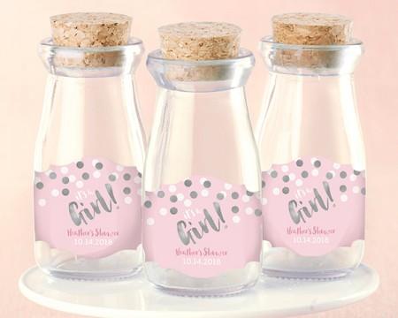 Mini Brocche latte personalizzate – È una femmina! (Set da 12)