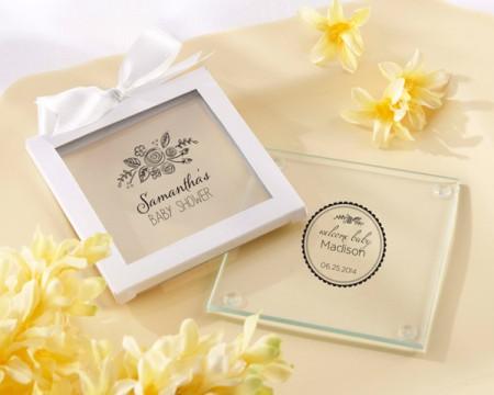 """Sottobicchieri in vetro personalizzati """"Tema Rustico"""" - Collezione Battesimi e Compleanni"""