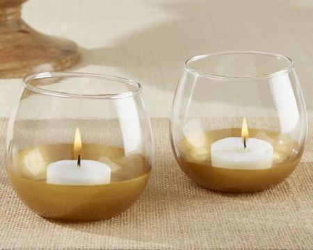 Portacandele in vetro intinto nell'oro (set da 4)