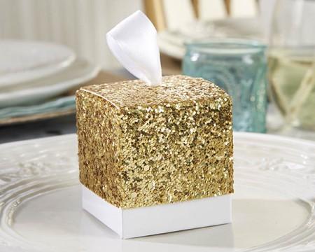 """Scatole Porta confetti in glitter dorato """"Tutto ciò che luccica"""""""