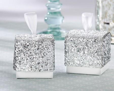 """Scatole porta confetti argento """"Sparkle and Shine"""""""