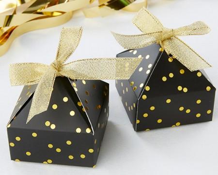 Scatola Portaconfetti Piramidale Nera e Puntini Dorati (Set di 24)