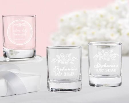 Bicchierini da liquore/Portacandeline personalizzati – Linea rustica (Nascite e Battesimi)