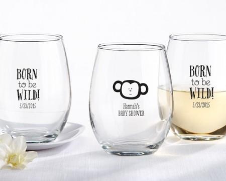 """Bicchieri personalizzati – Linea """"Born to be Wild"""" (Nascite e Battesimi)"""