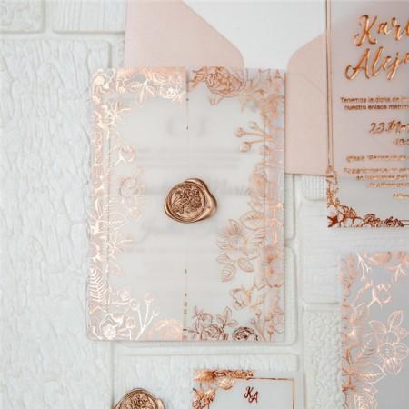 Partecipazioni Matrimonio Gold Rose