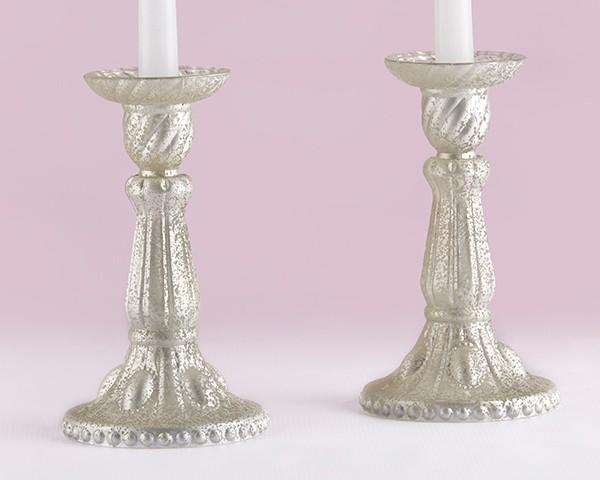 Portacandele in vetro champagne chiaro effetto metallo - Portacandele in vetro ...
