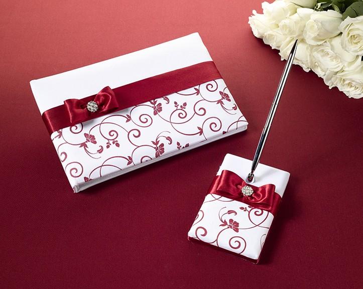 Matrimonio In Bianco E Rosso : Guestbook e penna rosso bianco