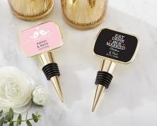 Tappo per bottiglie in oro personalizzato con cupoletta in resina - Matrimonio