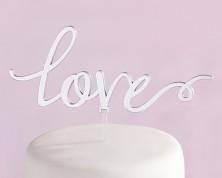 """Cake Topper """"Love"""" color Argento specchiato"""