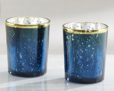"Portacandele ""Blue Mercury Glass"" (set da 4)"