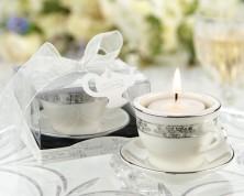 Portacandele in porcellana a forma di tazzina da tè