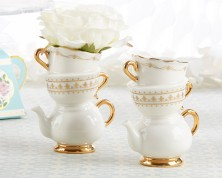 "Vaso Monofiore in Ceramica ""Tea Time Whimsy"""