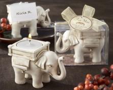 "Portacandele ""Elefante fortunato"" Avorio"