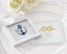 """Sottobicchieri in vetro personalizzati """"Tema Nautico"""" - Collezione Matrimonio"""