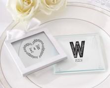"""Sottobicchieri in vetro personalizzati """"Tema Rustico"""" - Collezione Matrimonio"""