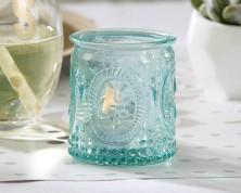 Portacandele in vetro vintage verde acqua