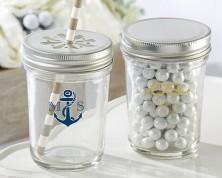 Barattolo trasparente personalizzato – linea nautica (Matrimonio)