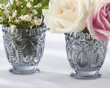 Portacandele in vetro grigio (set da 2)