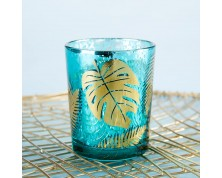 Portacandele con foglie di palma dorate