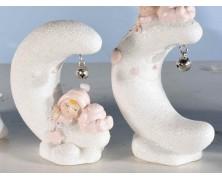 Decorazioni per Battesimo in resina rosa con glitter e campanella