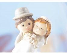 Barattolino in vetro con sposi e fiocco
