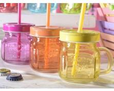 Boccale in vetro colorato con scritta in rilievo e cannuccia