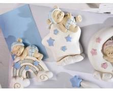 Magnete baby orsetto in resina azzurro