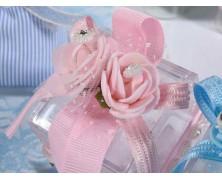 Scatoline porta confetti con fiori, strass e fiocco - Rosa