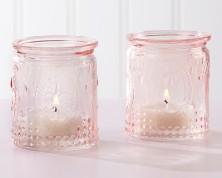 Portacandele in vetro vintage rosa